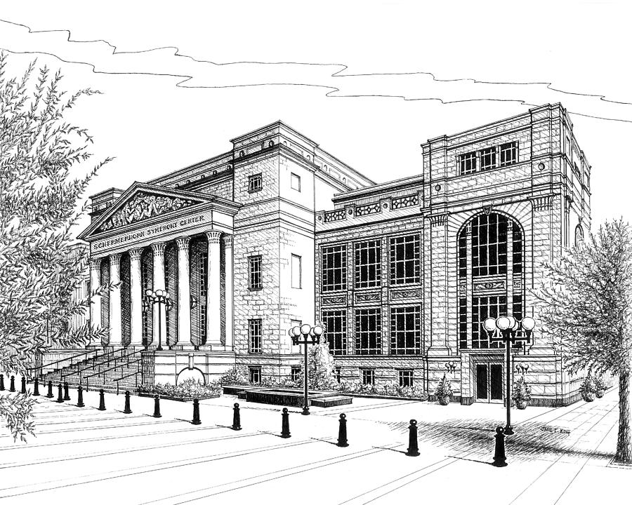 Symphony Center In Nashville Tennessee Drawing  - Symphony Center In Nashville Tennessee Fine Art Print