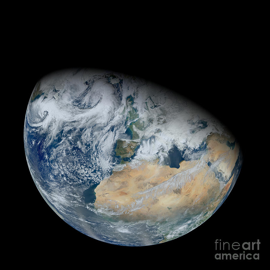 Synthesized View Of Earth Showing North Photograph  - Synthesized View Of Earth Showing North Fine Art Print
