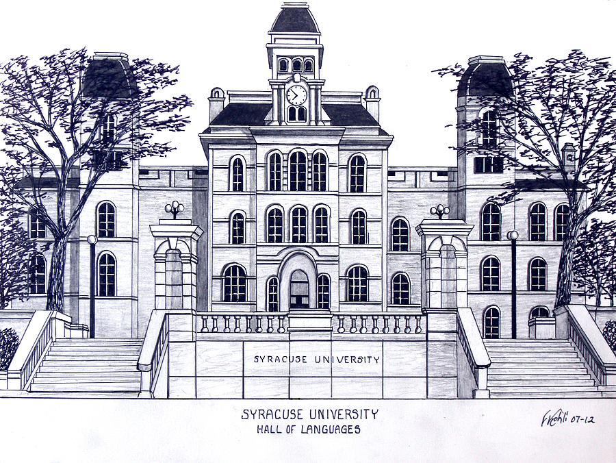 Syracuse university drawing by frederic kohli for Plan and print syracuse