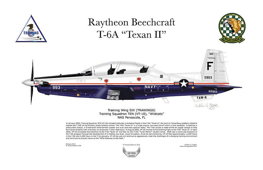 Raytheon Digital Art - T-6a Texan II Vt-10 by Arthur Eggers