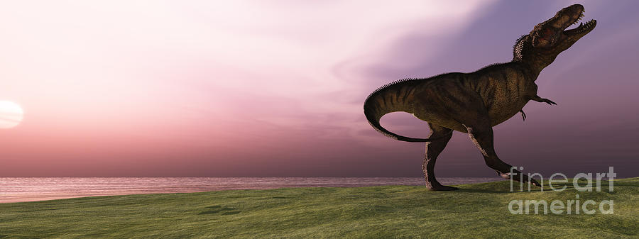 T-rex At Sunrise Painting  - T-rex At Sunrise Fine Art Print