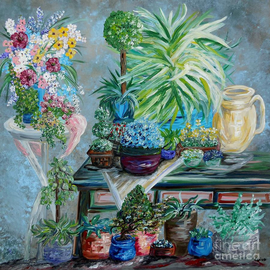 Table Of A Plant Lover Painting  - Table Of A Plant Lover Fine Art Print