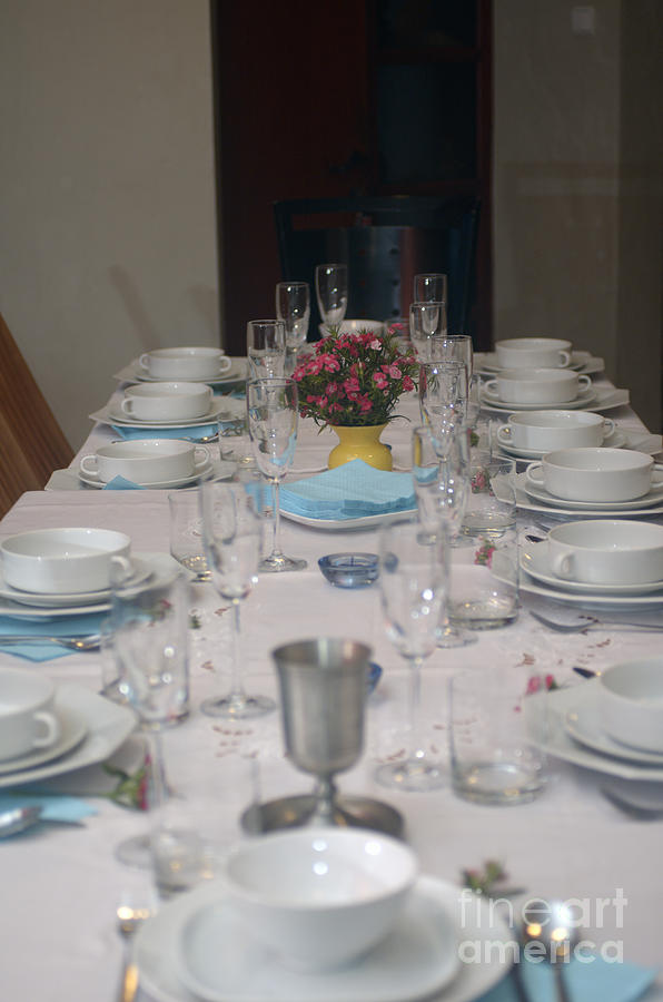 Table Set For A Jewish Festive Meal Photograph  - Table Set For A Jewish Festive Meal Fine Art Print