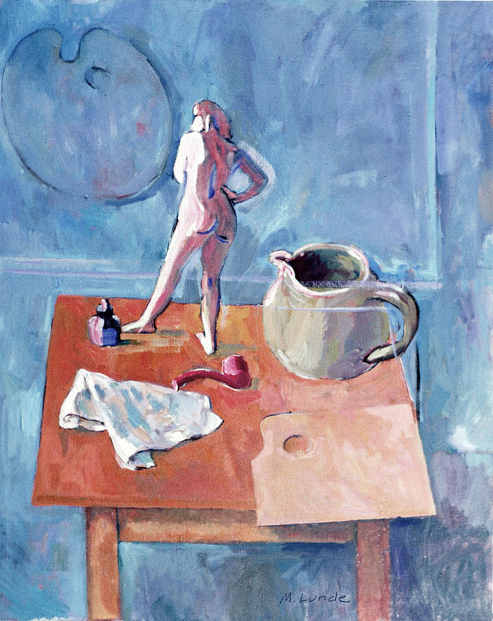 Oil Painting Painting - Tabletop With Figurine by Mark Lunde