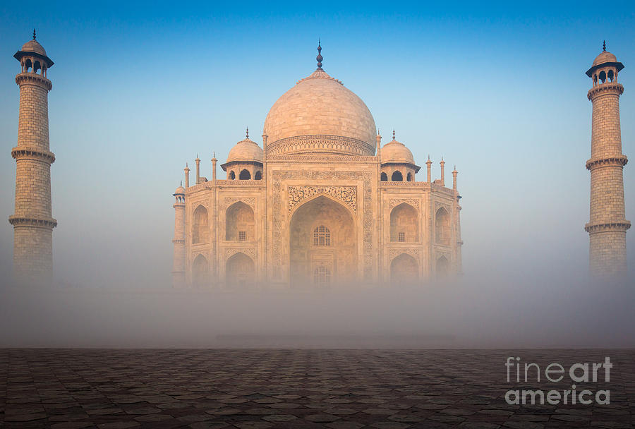 Taj Mahal In The Mist Photograph