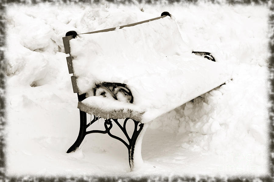 Park Bench In Snow Photograph - Take A Seat  And Chill Out - Park Bench - Winter - Snow Storm Bw by Andee Design