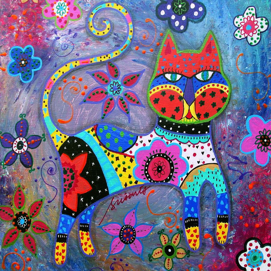 Talavera Cat Ii Painting By Pristine Cartera Turkus