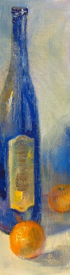 Tall Blue Bottle Painting  - Tall Blue Bottle Fine Art Print