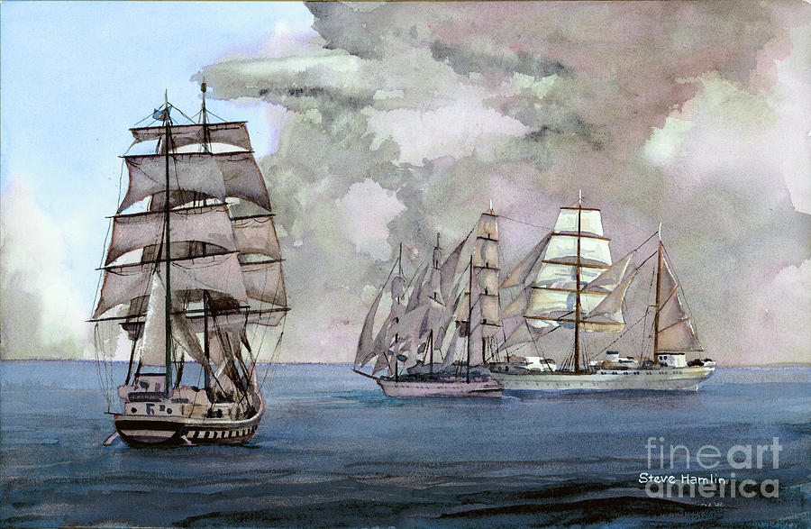 Sail Painting - Tall Ships Off Newport by Steve Hamlin