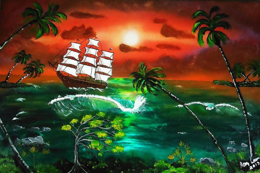 Tallship At Sunset Painting