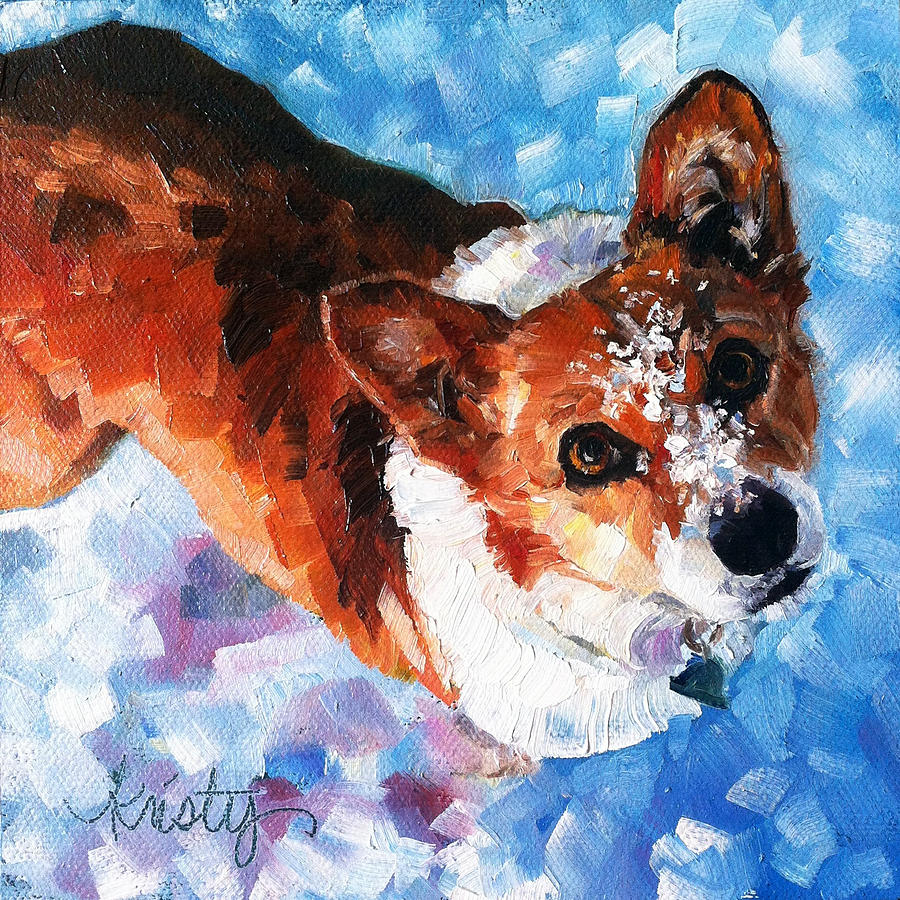Welsh Corgi Painting - Tally In The Snow by Kristy Tracy
