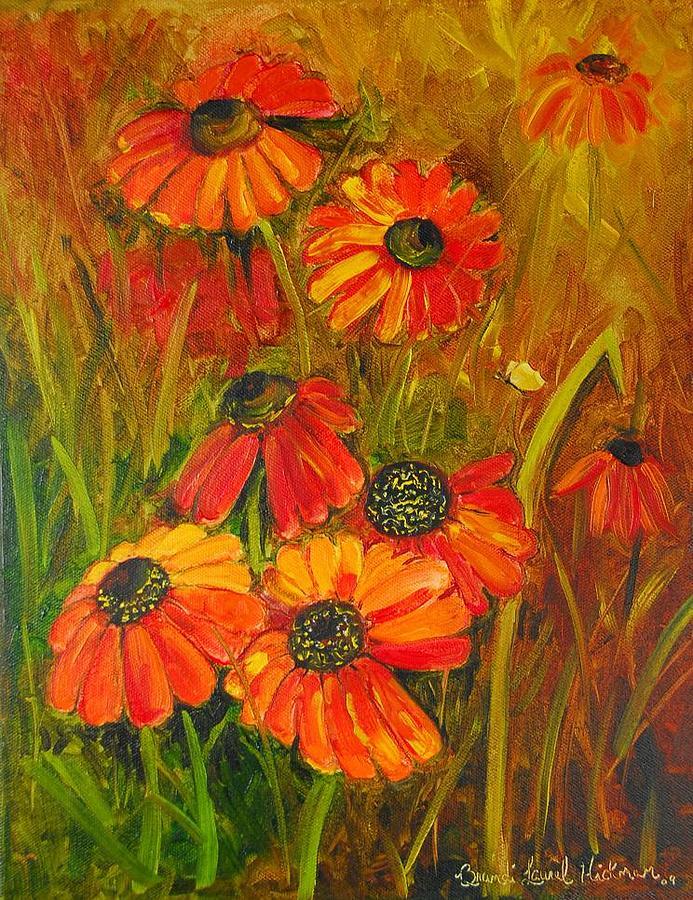 Cone Flower Painting - Tangerine Cone Flowers by Brandi  Hickman