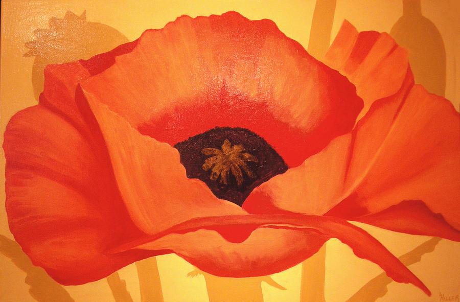 Tangerine Poppy Painting