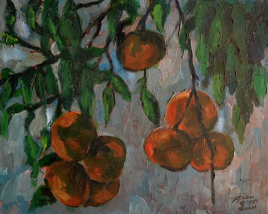 Tangerines Painting - Tangerines At Dawn by Peter Paul Christian Mahilum