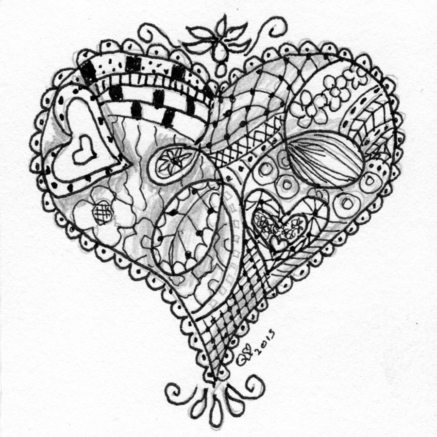 heart zentangle coloring pages - photo#16