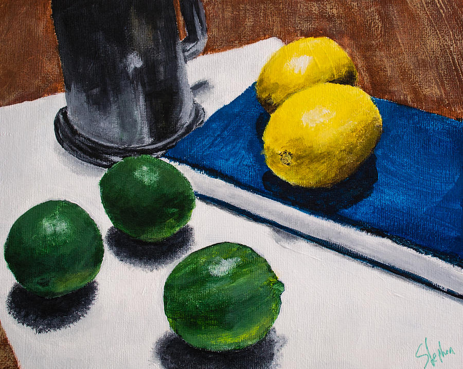 Lemon Painting - Tankard And Citrus 8x10 by Stephen Nantz