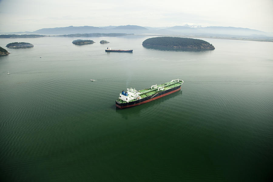 Tanker Ships At Anchor Offshore Of The Photograph