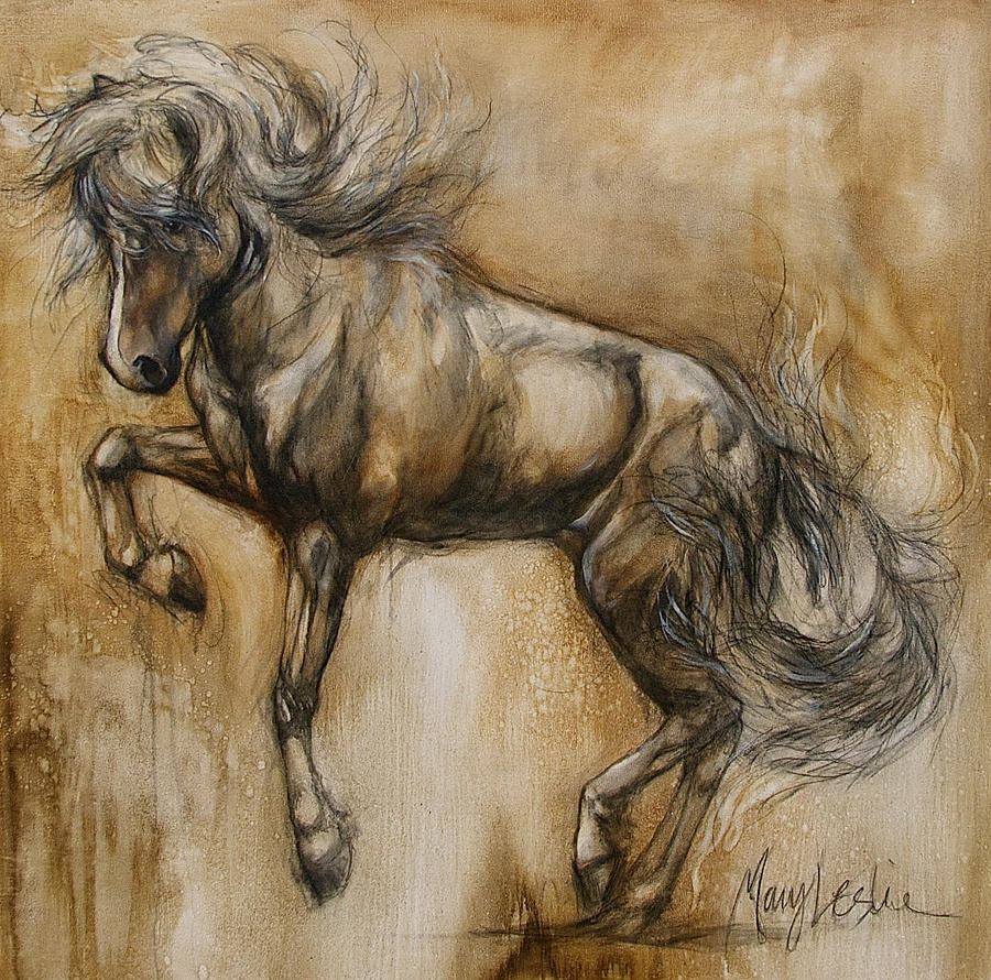 Rearing Horse Painting Painting - Tantrum by Mary Leslie