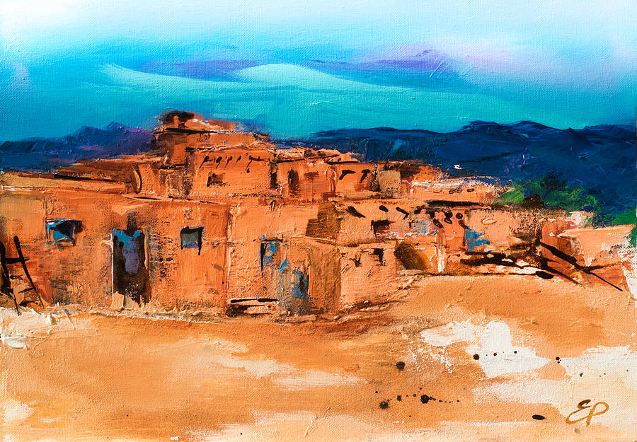 Taos Pueblo Village Painting