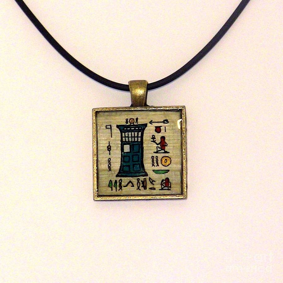Tardis Faux Artifact Miniature Painting On Papyrus Mounted In Pendant Painting