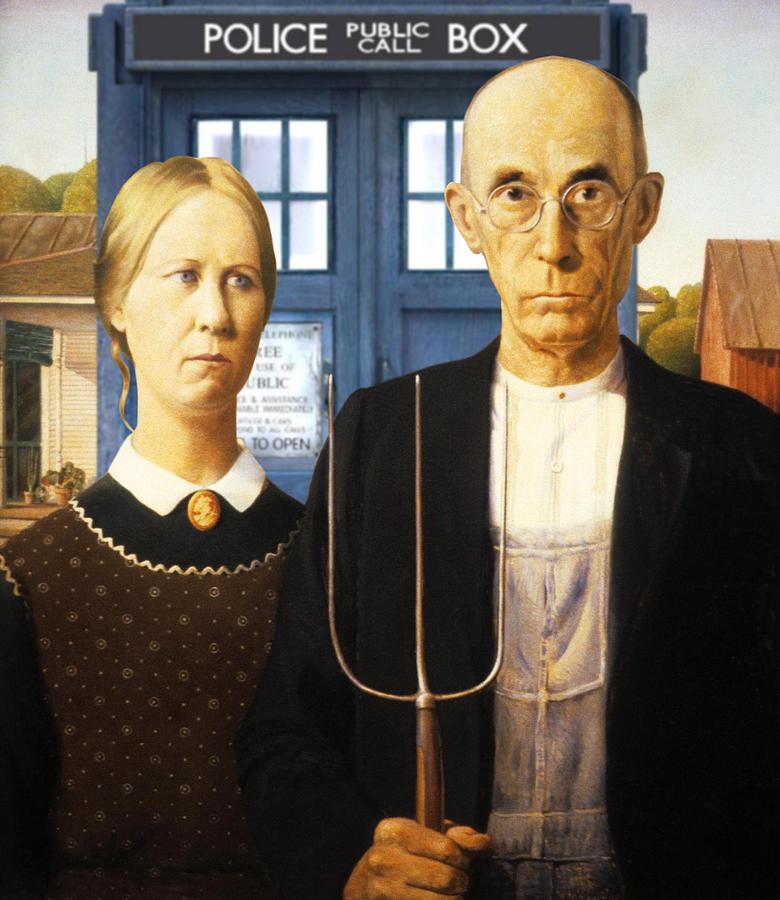 American Gothic Painting - Tardis V Grant Wood by GP Abrajano