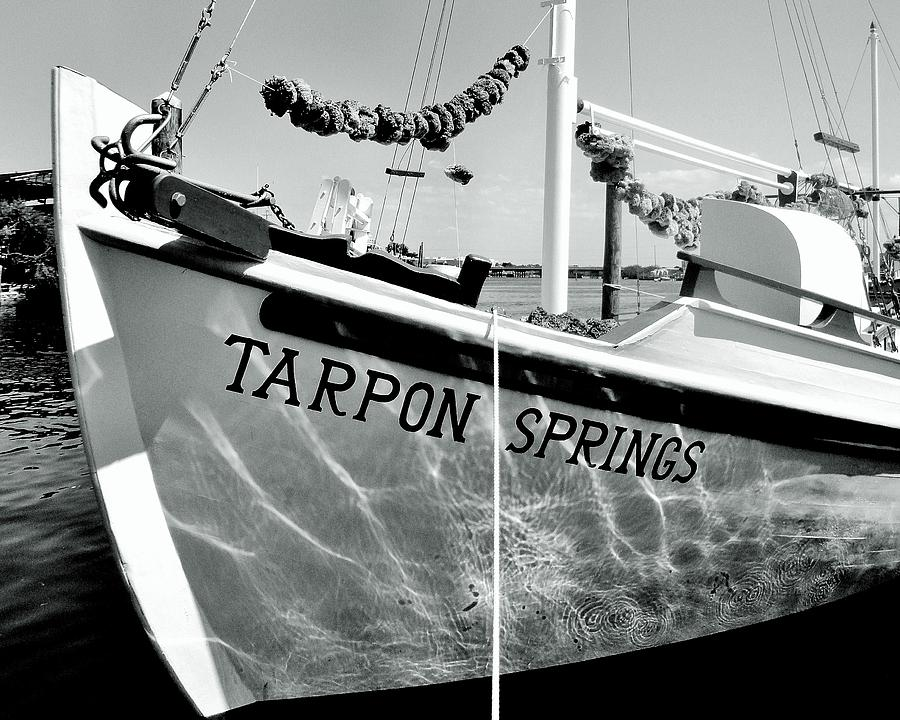 Tarpon Springs Spongeboat Black And White Photograph  - Tarpon Springs Spongeboat Black And White Fine Art Print