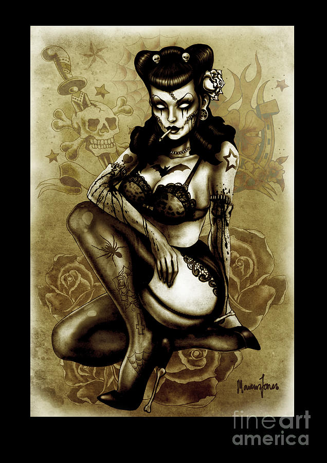 Tattooed Vintage Zombie Art Print Digital Art  - Tattooed Vintage Zombie Art Print Fine Art Print