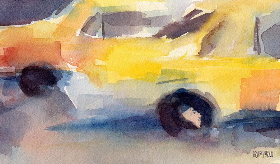 Taxi Cabs Nyc Watercolor Painting Painting