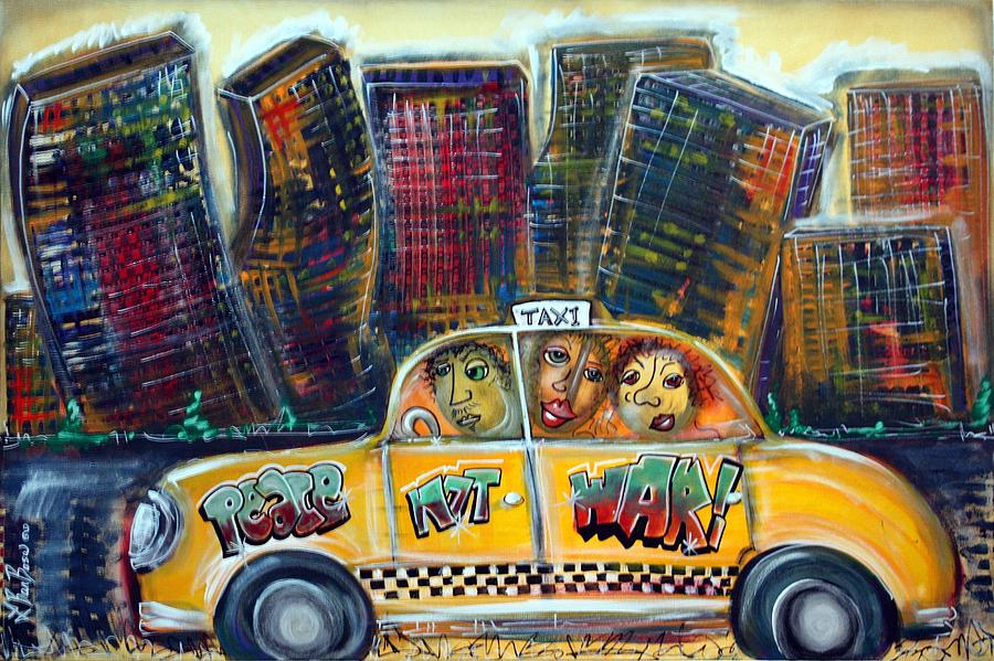 Taxi Cab Painting - Taxi by Laura Barbosa