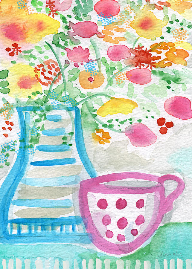 Tea And Fresh Flowers- Whimsical Floral Painting Painting