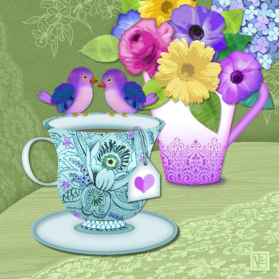 Tea Cup Digital Art - Tea For 2 by Valerie Drake Lesiak