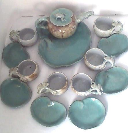 Fantasy Tea Set Ceramic Art - Tea With Frogs by Lyras Prism