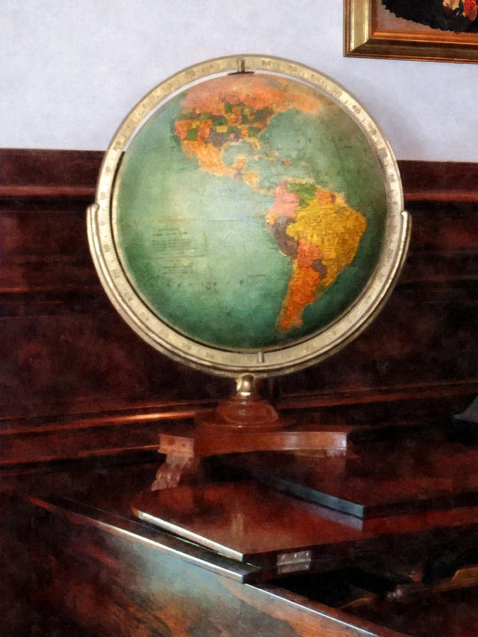 Globe Photograph - Teacher - Globe On Piano by Susan Savad