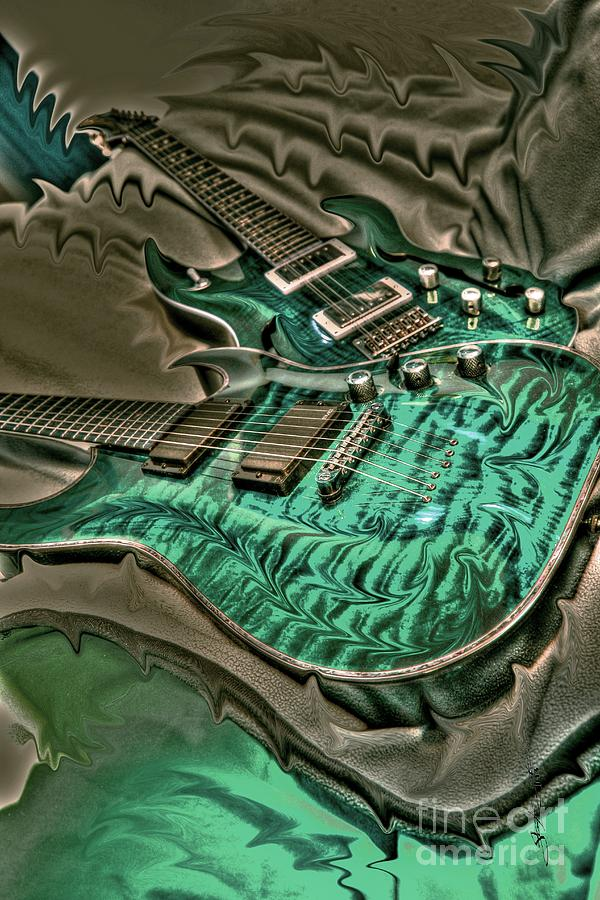 Teal Steel Digital Guitar Art By Steven Langston Photograph  - Teal Steel Digital Guitar Art By Steven Langston Fine Art Print