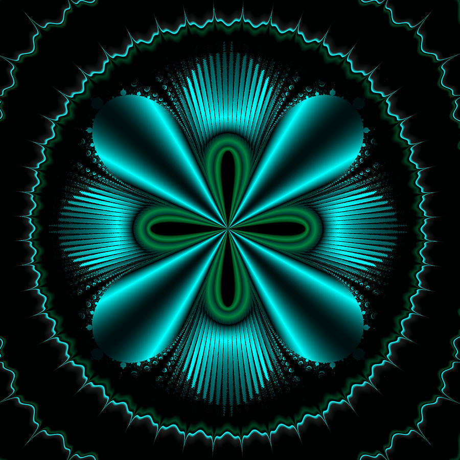 Teal Wheel Mandelbrot Painting