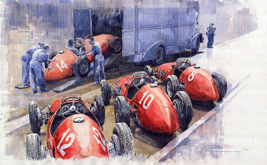 Watercolour Painting - Team Ferrari 500 F2 1952 French Gp by Yuriy  Shevchuk