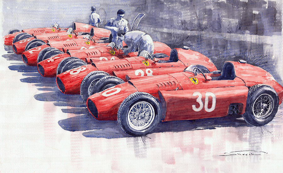 Watercolour Painting - Team Lancia Ferrari D50 Type C 1956 Italian Gp by Yuriy  Shevchuk