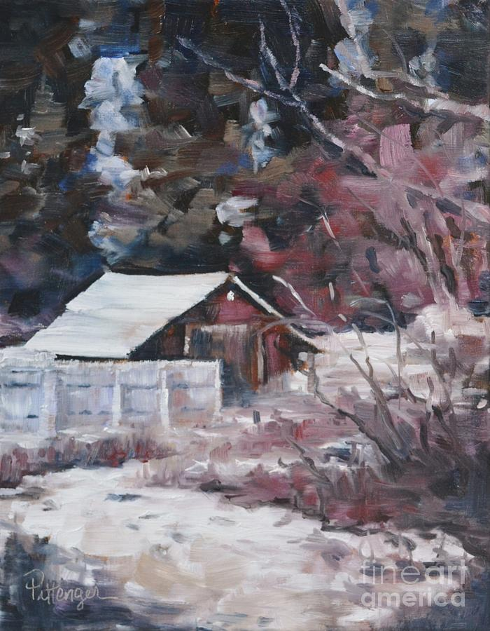 Teanaway Barn In Winter Painting