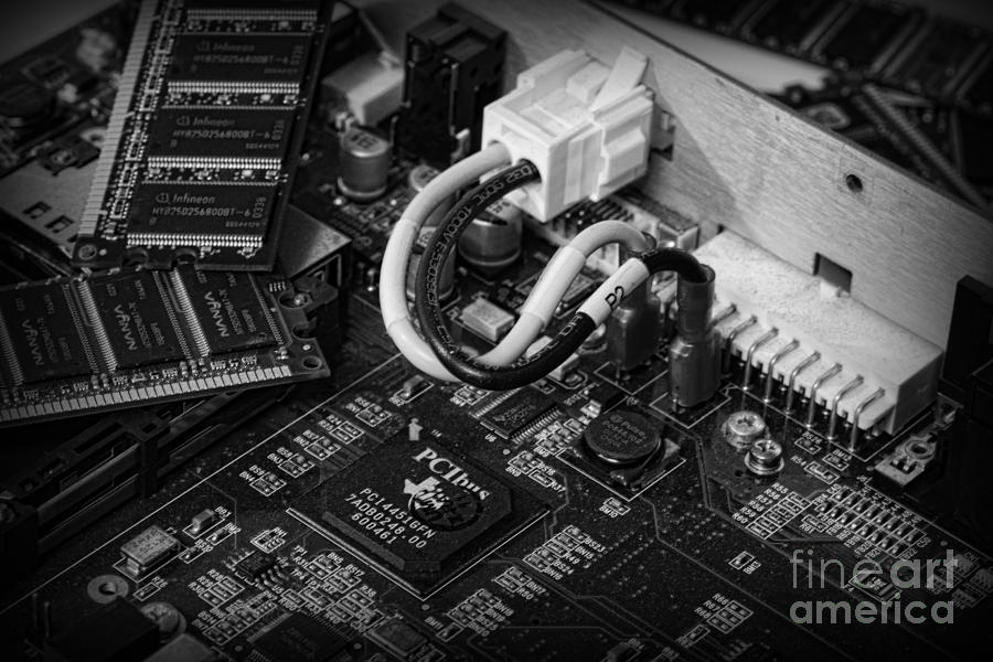 Technology - Motherboard In Black And White Photograph