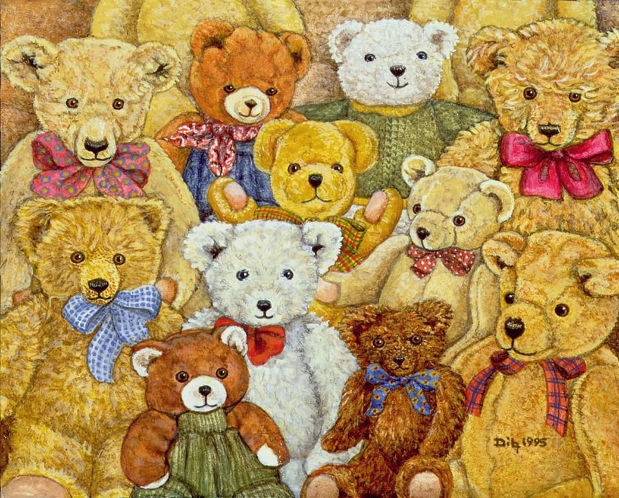 Teddy Bear; Bow; Teddies Painting - Ted Patch by Ditz