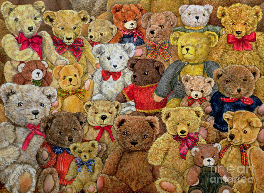 Teddy Bear; Bow; Teddies Painting - Ted Spread by Ditz