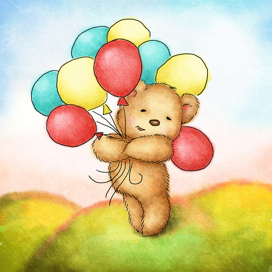 Teddy Bear With Colorfull Balloons Drawing  - Teddy Bear With Colorfull Balloons Fine Art Print