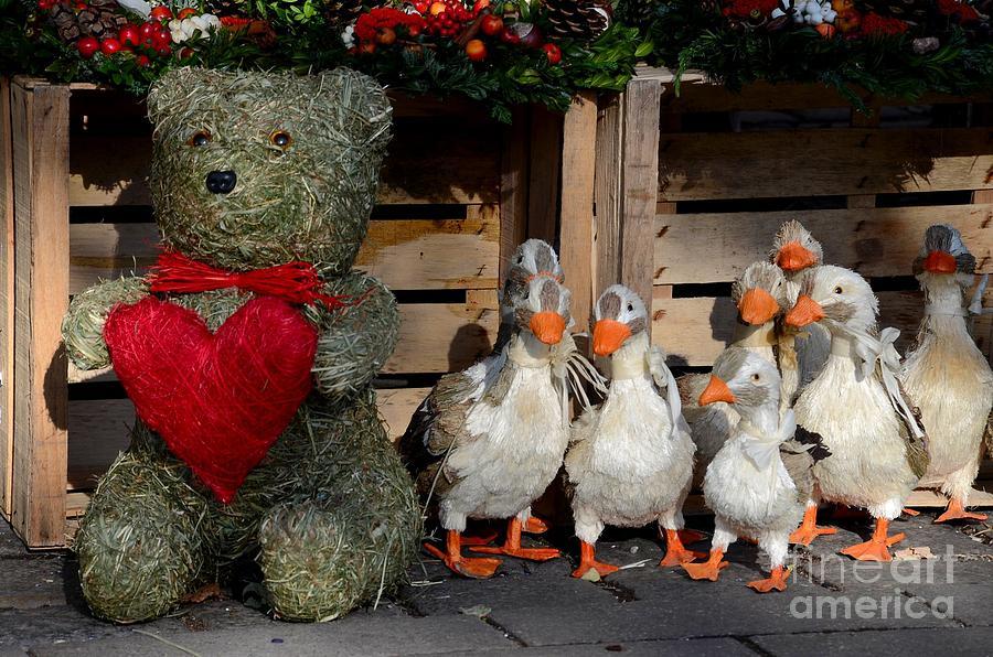 Teddy Bear With Flock Of Stuffed Ducks Photograph