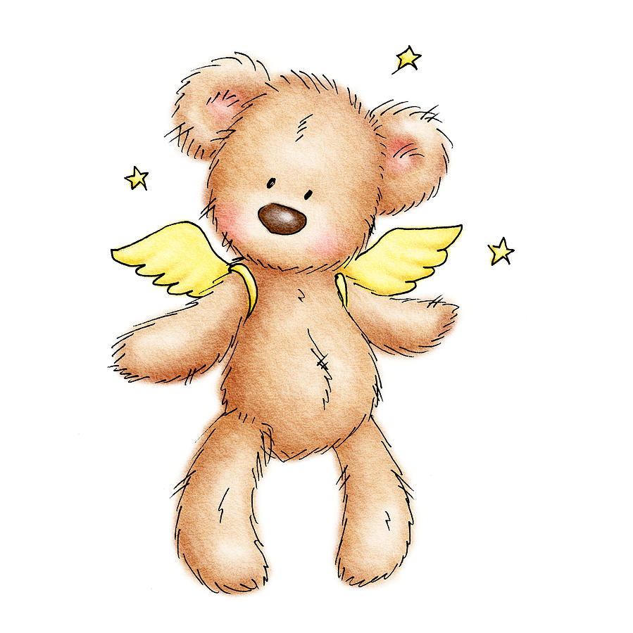 Teddy Bear With Wings Drawing  - Teddy Bear With Wings Fine Art Print