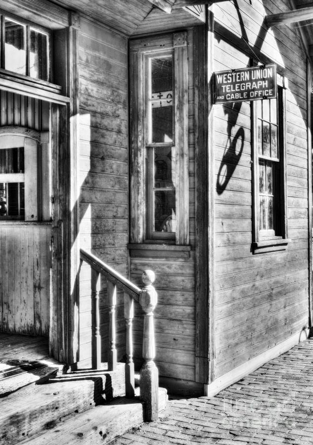 Telegraph Photograph - Telegraph And Cable Office Bw by Mel Steinhauer