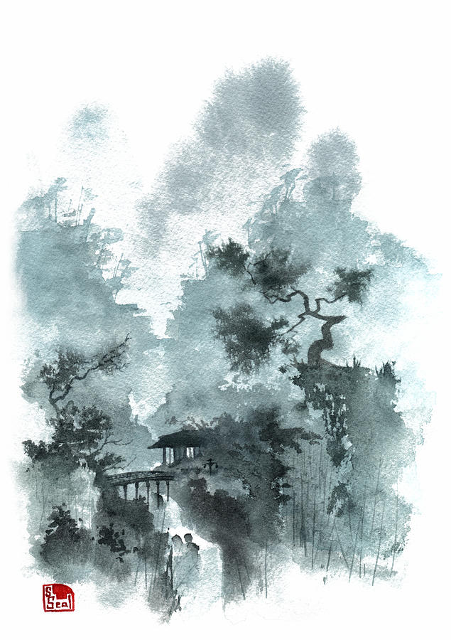 Temple Bridge Painting
