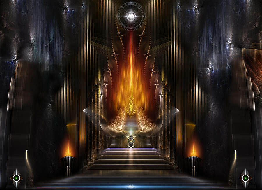 Temple Of Golden Fire Digital Art  - Temple Of Golden Fire Fine Art Print