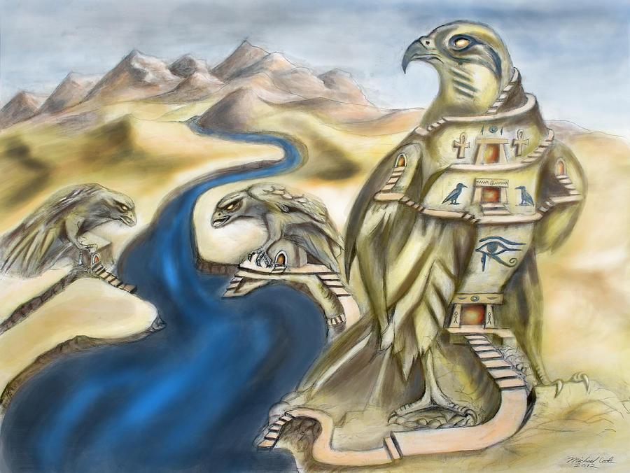 Temple Of Horus Three Of Three Mixed Media