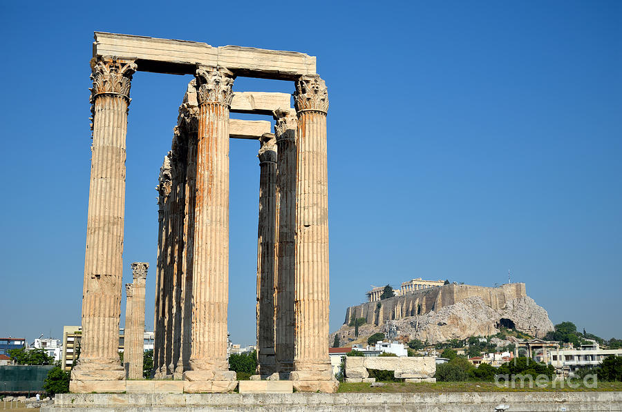 Temple Of Olympian Zeus And Acropolis In Athens Photograph