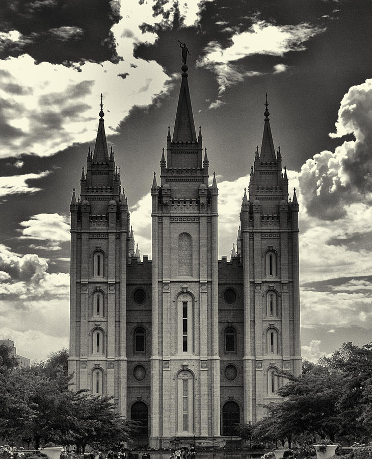Temple Square Black And White Photograph  - Temple Square Black And White Fine Art Print